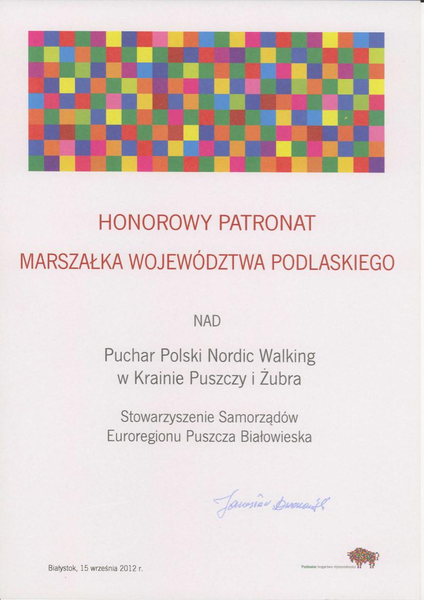 Honorowy Patronat Marszałka Województwa Podlaskiego
